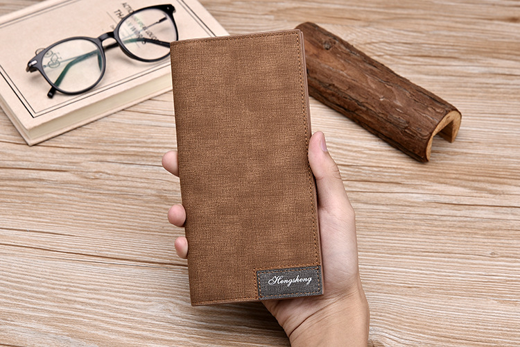 Long Wallet, Button Bag, Utra-thin Youth Men's Frosted Leather Wallet, Multifunctional Soft Leather Wallet 2