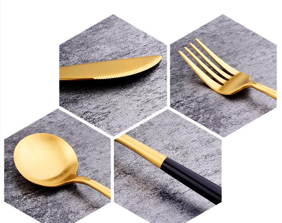 Gift Tooth Knife Fork Spoon Set Black Gold Titanium Paint Portable Cloth Bag Outdoor Travel Tableware Set 5 Piece MOQ 1 set 4