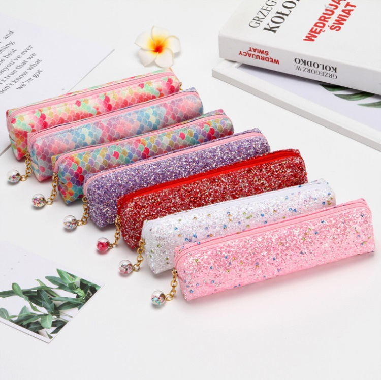 Laser Sequined Diamond Pencil Case Explosion-proof Student Supplies Colorful Stationery Bag 0