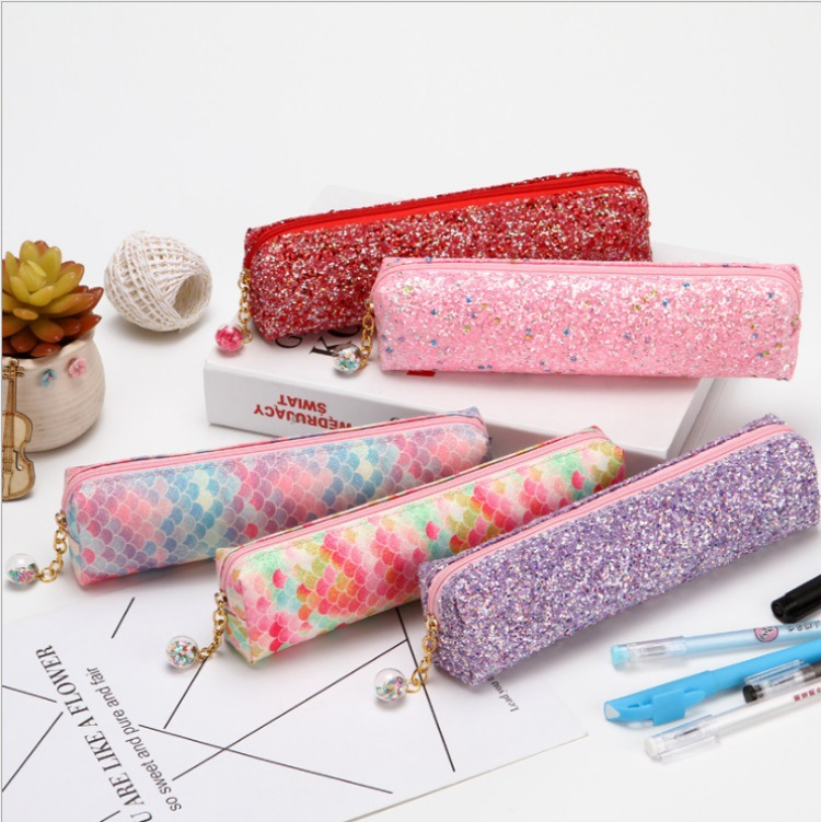 Laser Sequined Diamond Pencil Case Explosion-proof Student Supplies Colorful Stationery Bag 1