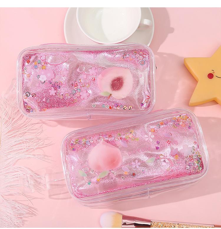 Avocado Quicksand Pencil Case Transparent Cute Peach Cartoon Large Capacity Stationery Case Portable Cosmetic Bag 1