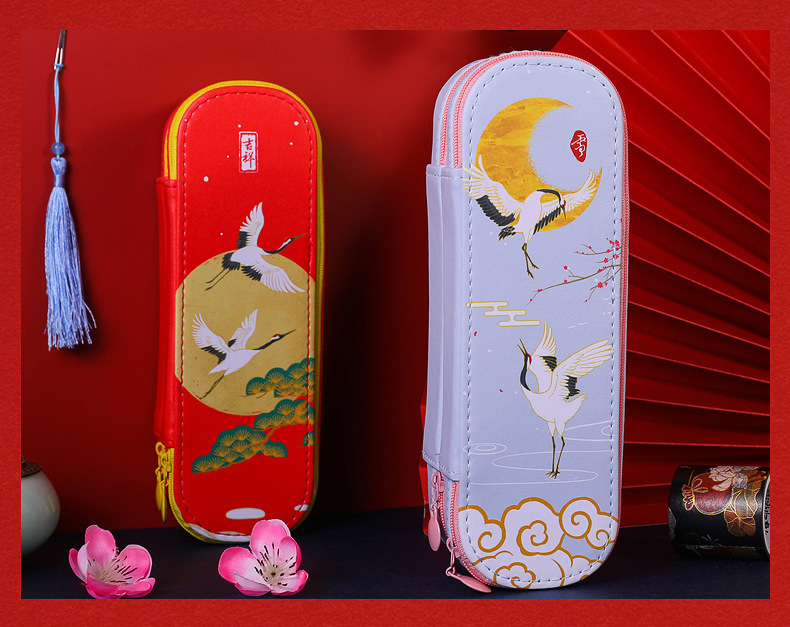 Antique Simple Large-capacity Double-layer PU Pencil Case Storage Chinese Style Stationery  4