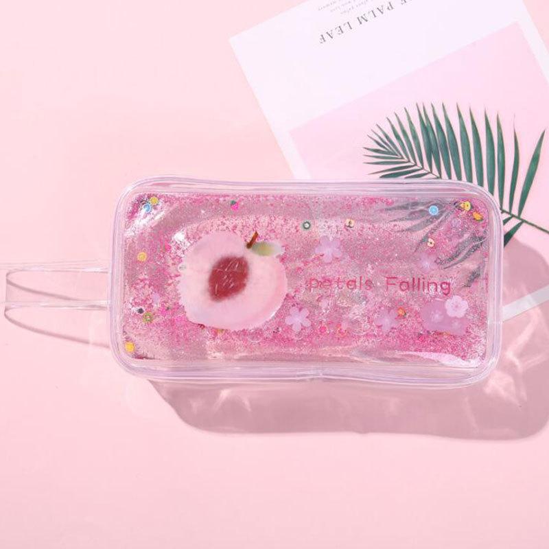 Avocado Quicksand Pencil Case Transparent Cute Peach Cartoon Large Capacity Stationery Case Portable Cosmetic Bag 4