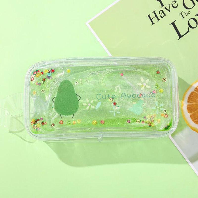 Avocado Quicksand Pencil Case Transparent Cute Peach Cartoon Large Capacity Stationery Case Portable Cosmetic Bag 6