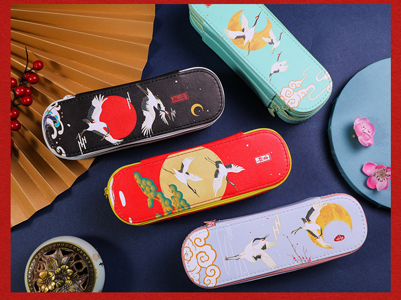 Antique Simple Large-capacity Double-layer PU Pencil Case Storage Chinese Style Stationery  2