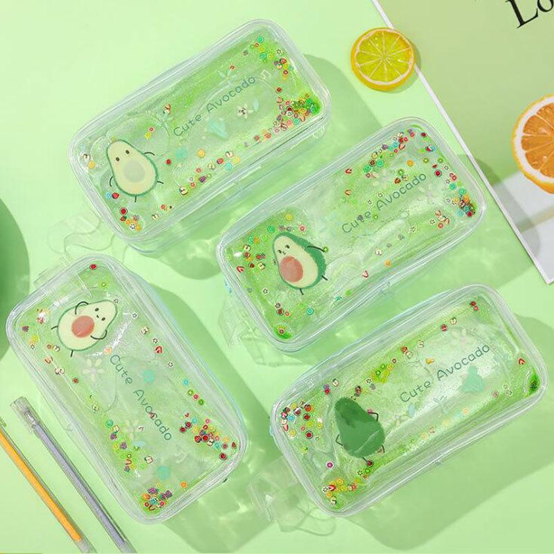 Avocado Quicksand Pencil Case Transparent Cute Peach Cartoon Large Capacity Stationery Case Portable Cosmetic Bag 2