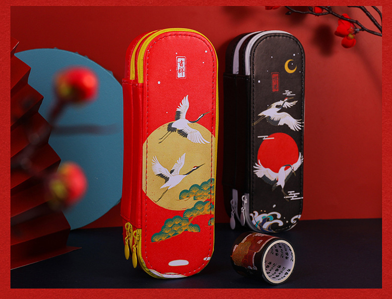 Antique Simple Large-capacity Double-layer PU Pencil Case Storage Chinese Style Stationery  3