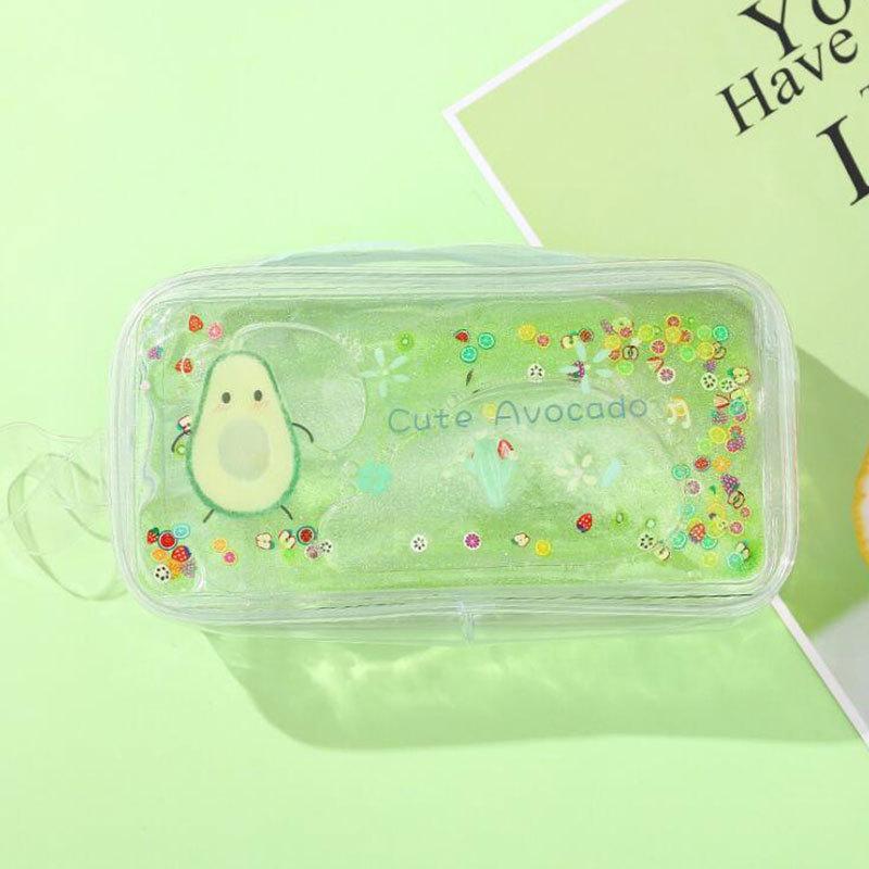 Avocado Quicksand Pencil Case Transparent Cute Peach Cartoon Large Capacity Stationery Case Portable Cosmetic Bag 5