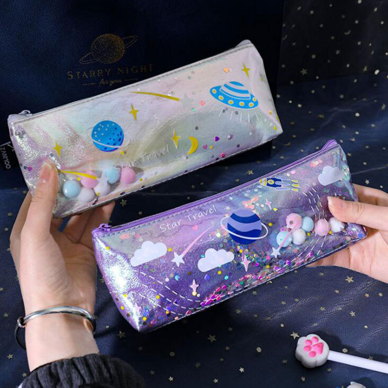 Creative Planet Quicksand Pencil Case Student Personality Stationery Bag Cute Waterproof Gorgeous Stationery Box Laser Pencil Case 0