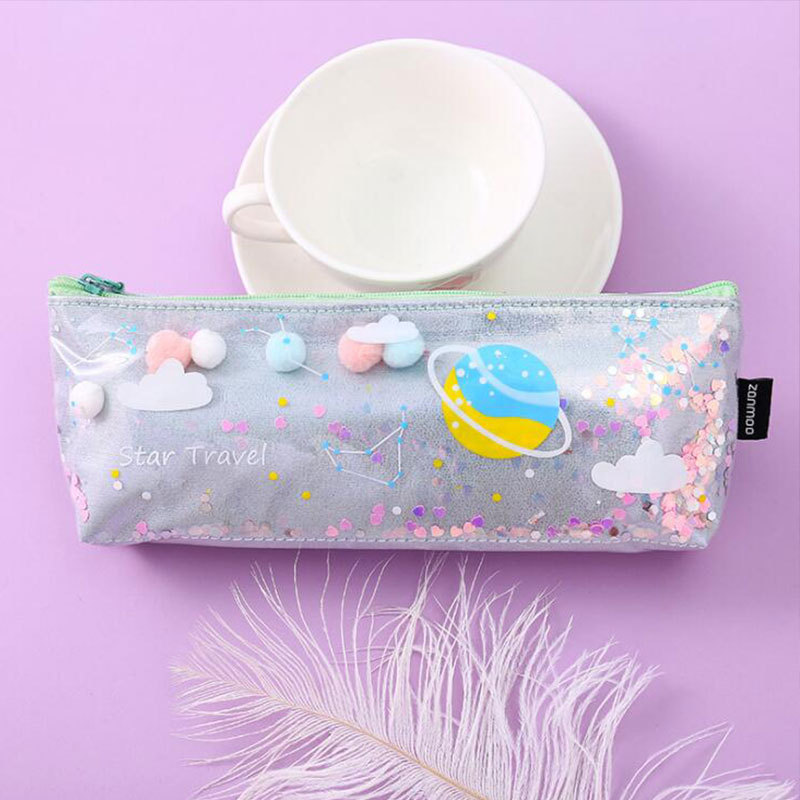 Creative Planet Quicksand Pencil Case Student Personality Stationery Bag Cute Waterproof Gorgeous Stationery Box Laser Pencil Case 4