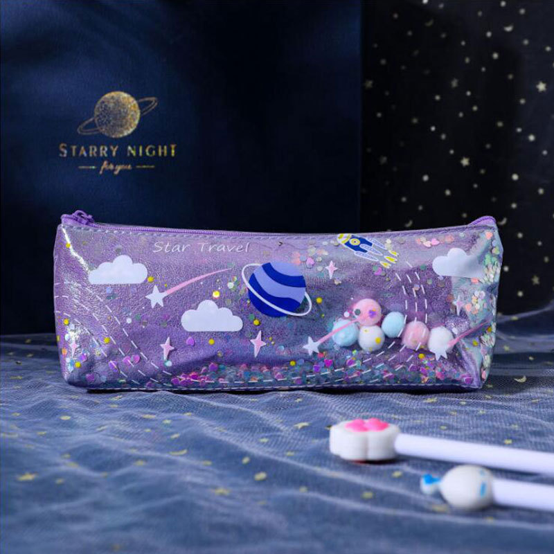 Creative Planet Quicksand Pencil Case Student Personality Stationery Bag Cute Waterproof Gorgeous Stationery Box Laser Pencil Case 5