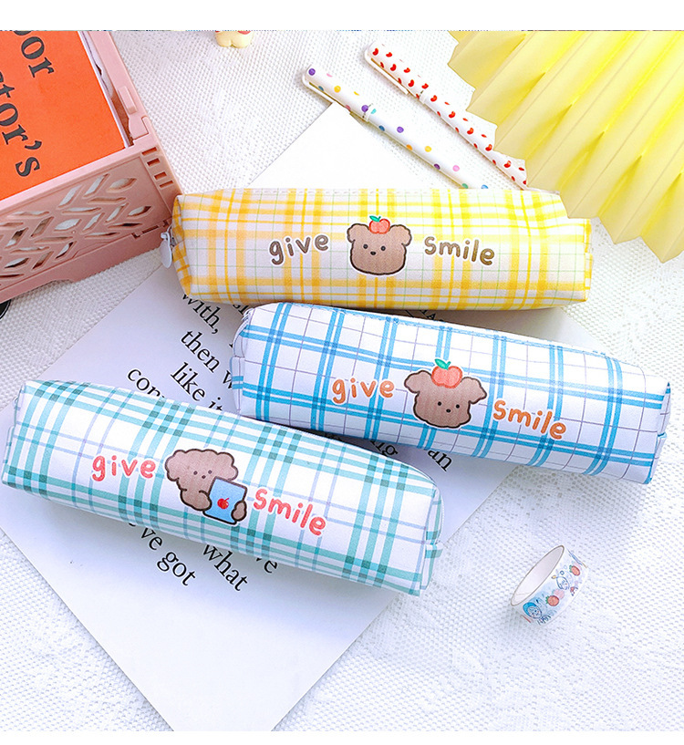 Cartoon Large Capacity Stationery Box Student Cute Lattice Japanese Pencil Case PU Simple Stationery Bag 4