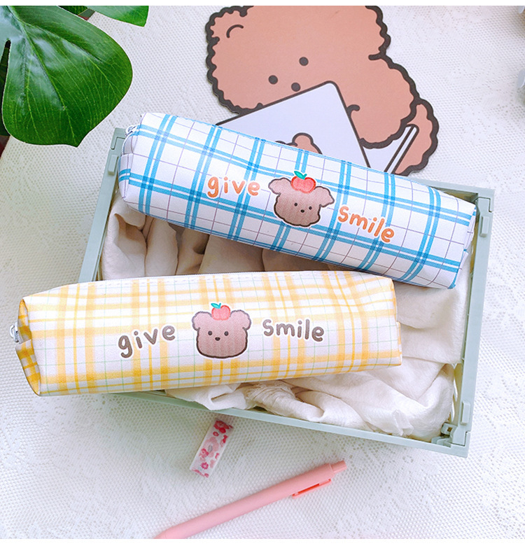 Cartoon Large Capacity Stationery Box Student Cute Lattice Japanese Pencil Case PU Simple Stationery Bag 0