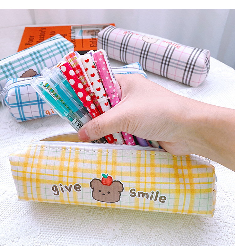 Cartoon Large Capacity Stationery Box Student Cute Lattice Japanese Pencil Case PU Simple Stationery Bag 2