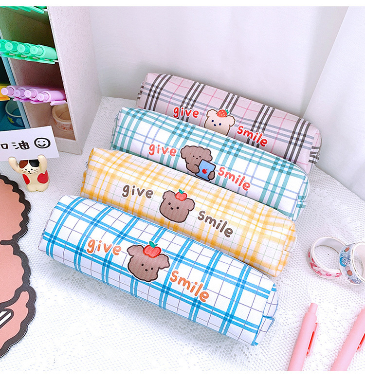 Cartoon Large Capacity Stationery Box Student Cute Lattice Japanese Pencil Case PU Simple Stationery Bag 5