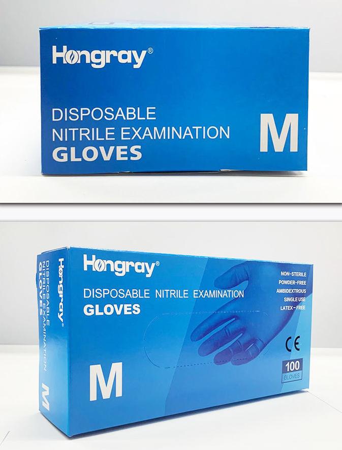 Hongray Disposable Medical Nitrile Gloves Powder-free Latex free Examination Gloves with CE FDA 0