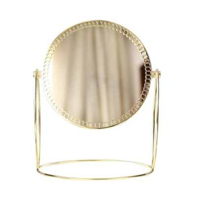 Tabletop Vanity Mirror, One-Sided Makeup Mirror, Round Cosmetic Mirror With Delicate Lace