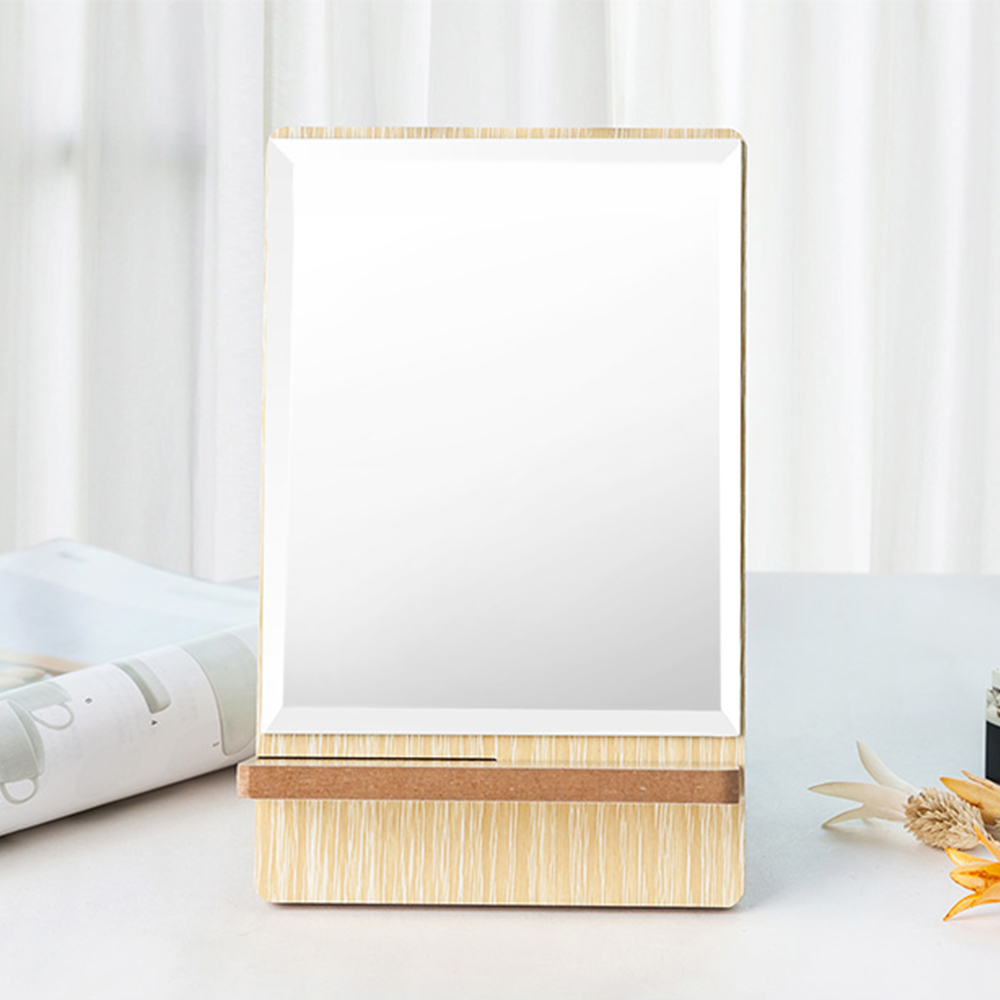 Wooden Table Top Mirror, One-Sided Makeup Mirror For Vanity, Portable Rectangle Cosmetic Mirror