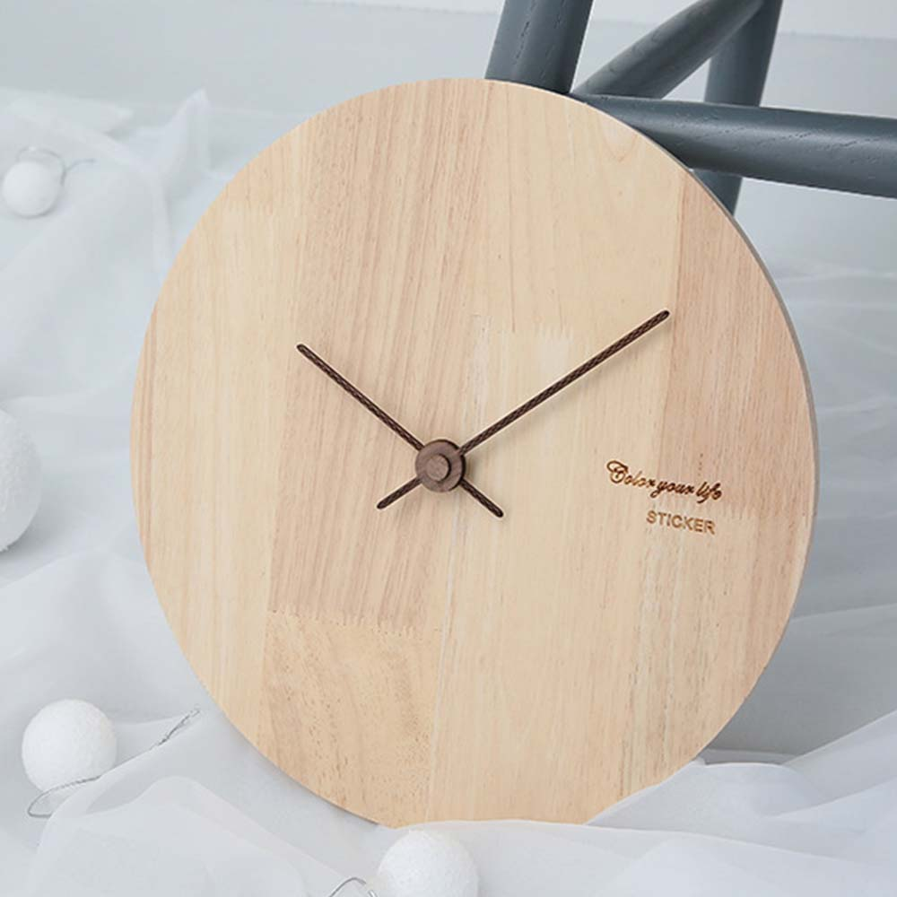 Solid Wood Wall Clock - Minimalist Modern Design Square Wall Clock, Round Wall Clock