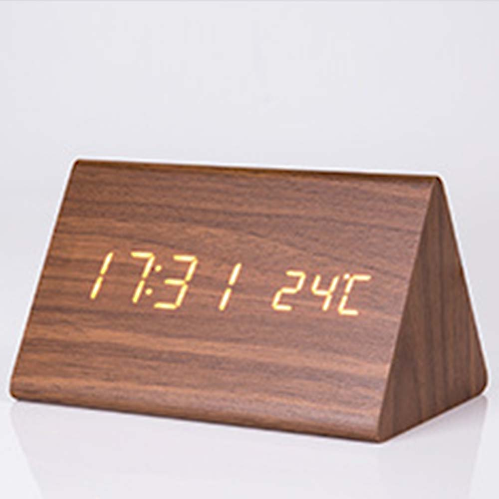Triangular Alarm Clock - Wooden Electronic Alarm Clock with Sound Control and Temperature