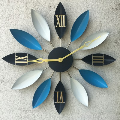 Wall Clock Silent - Creative Vintage Leaf Watch, Modern Design Number Pattern