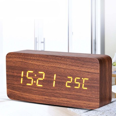 Rectangle Alarm Clock, Electronic Wooden Alarm Clock with Sound Control and Shows Temperature