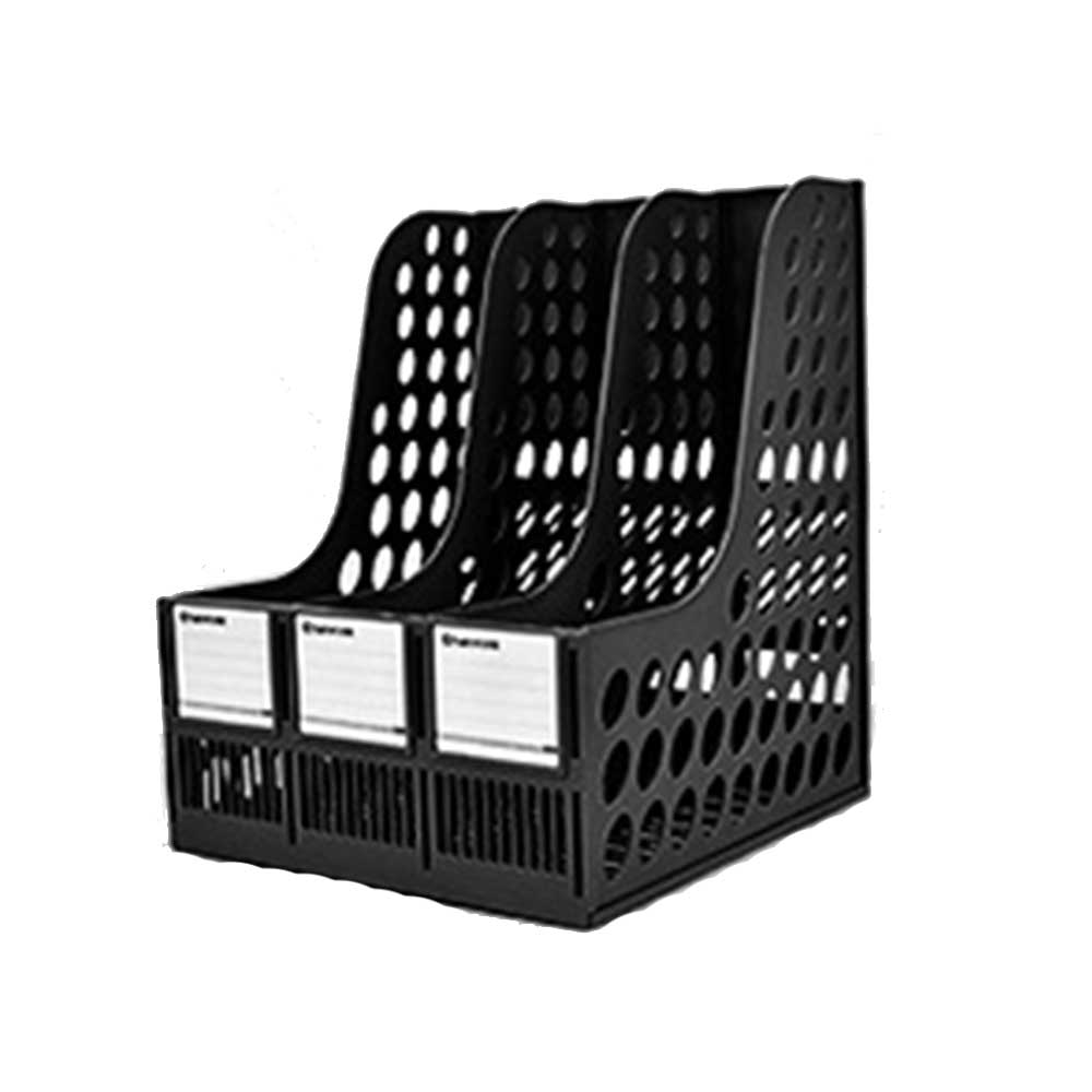 File Holder Stand - Plastic Desk File Holder Rack Organizer, 3 Subsections Document Storage