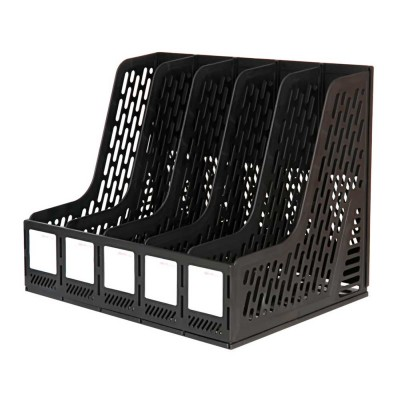 File Organizer Folder - Large Capacity Desktop File Holder Rack Organizer 5 Subsections Document Storage, Black, Grey