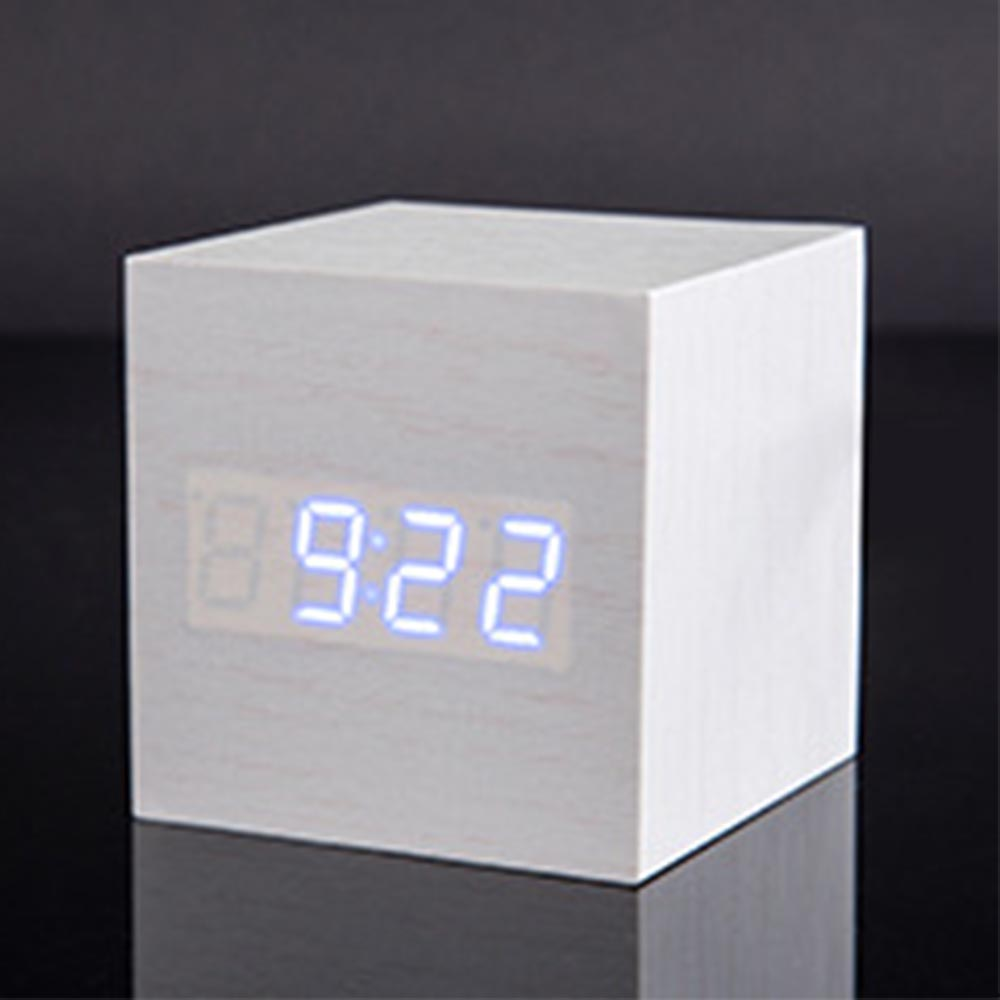 Wooden Digital Alarm Clock - Sound Control Electronic Alarm Clock with Temperature, Time LED Numeral Calendar