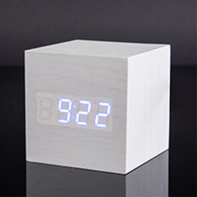 Wooden Digital Alarm Clock - Sound Control Electronic Alarm Clock with Temperature, Time LED Numeral Calendar