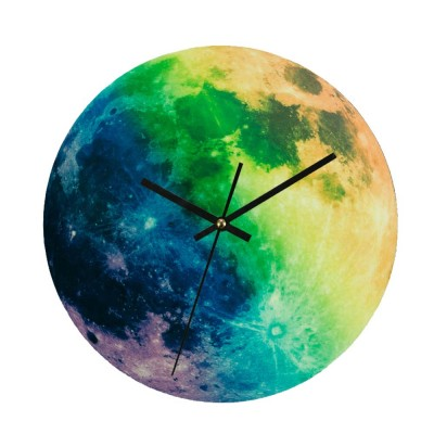 Luminous Wall Clock - Creative Round Luminous Clock with Moon and Planet Shows Up
