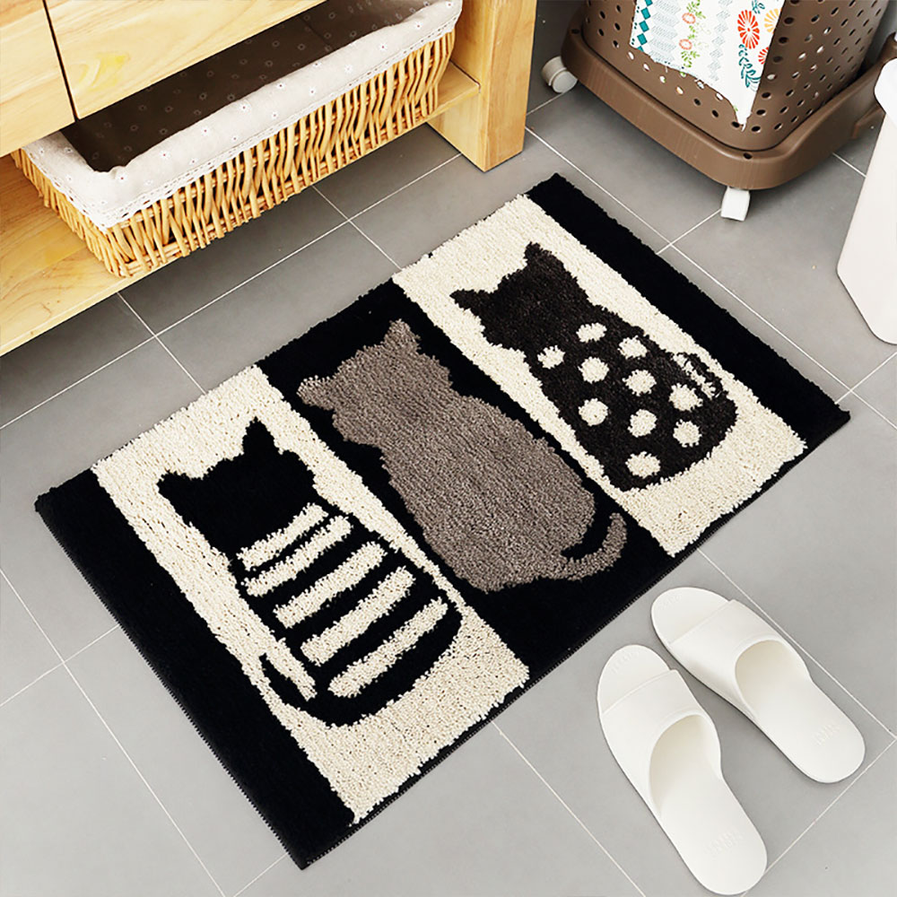 Chic Contrast Color Black And White Carpet Doormat Area Rug Fluffy Shaggy Anti-Skid Floor Mats
