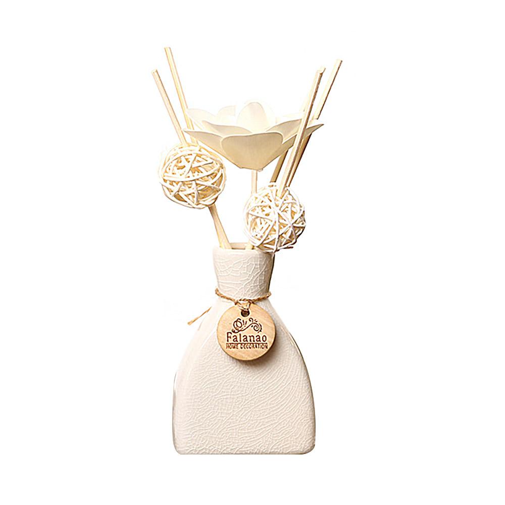 Volatile Aroma - Vintage Rattan Aromatic Wood Flower Home Aromatherapy, White Ceramic Bottle, 30ml