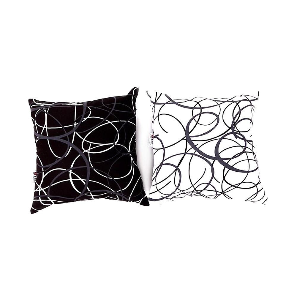 Thick Pillow Case - Modern Geometric Print Black White Linen Cushion Cover Home Decor 48cm