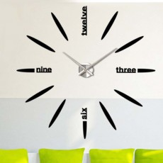 Creative DIY Wall Clock, Stylish Wall Clock With Large Number And Acrylic Mirror