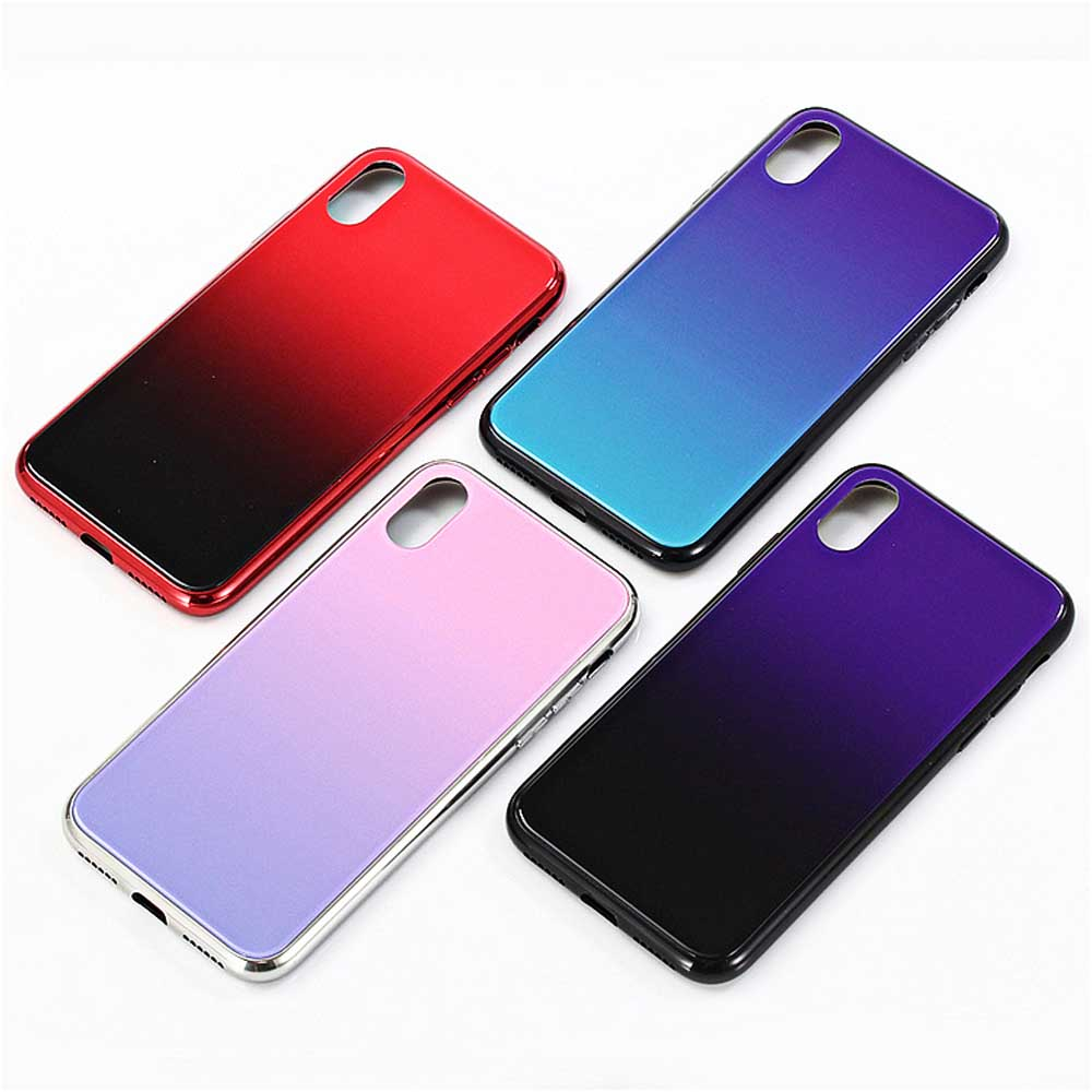 Painted Phone Case - Creative Phone Case for iPhone X/XS, 7P/8P, 6P, Tough Tempered Gradient Glass Phone Case