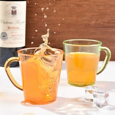 Juice Cups with C-shape Handle, Transparent Exquisite Glass Plastic Cups for Coffee, Juice, Liquor, Beverages