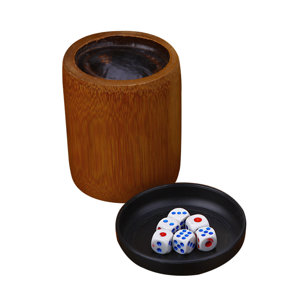 Bamboo Dice Cup Durable Anti-impact Dice Storage, Party Bar KTV and Casino Pub Gambling Poker Game Dice Cup