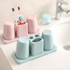 Toothbrush Holder with Cups, Bathroom Toothbrush Cups Organizer Set with Draining Rack for Couples, Family, Roommates