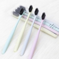 Household Ultra Soft Toothbrushes Available for Men Women Kids, Hotel Travel Use Bamboo Charcoal Toothbrush 4 Pieces
