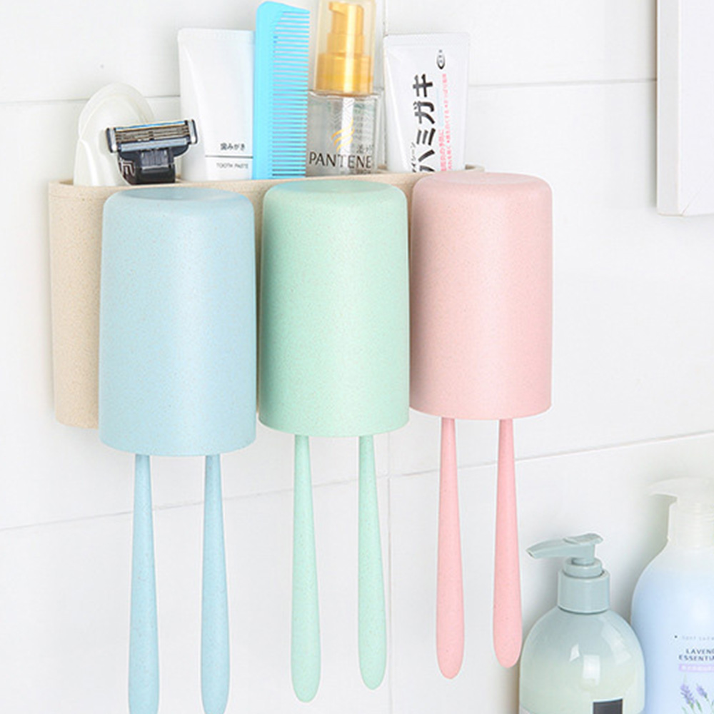 Toothbrush Holder Wall Mounted for Bathroom, Eco-friendly Degradable Wheat-straw Toothbrush Cups Set