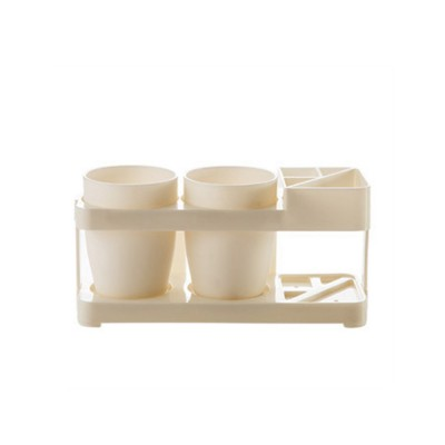 Bathroom Cup Set with Draining Rack, Durable Toothbrush Cup Holder for Bathroom Hotel Traveling Business Trip