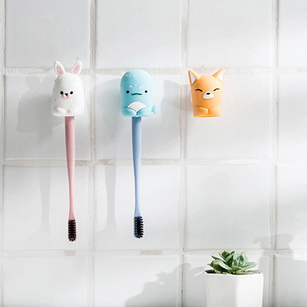 Suction Toothbrush Holder, Mini Animal Wall Mounted Toothbrush Organizer, Inverted Hanging Toothbrush Holder