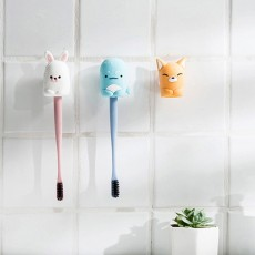Suction Toothbrush Holder, Mini Animal Wall Mounted Toothbrush Organizer, Inverted Hanging Toothbrush Holder