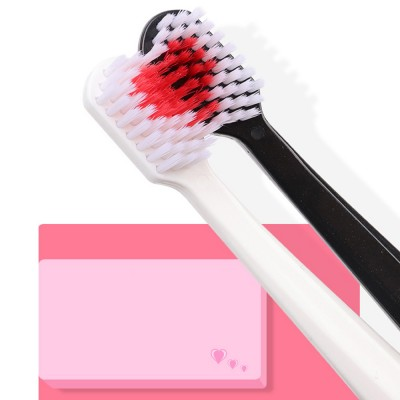 Heart Shape Couple Toothbrush for Hotel, Travel, 2 Pieces Lover Black White Toothbrushes with Ultra Soft Bristles