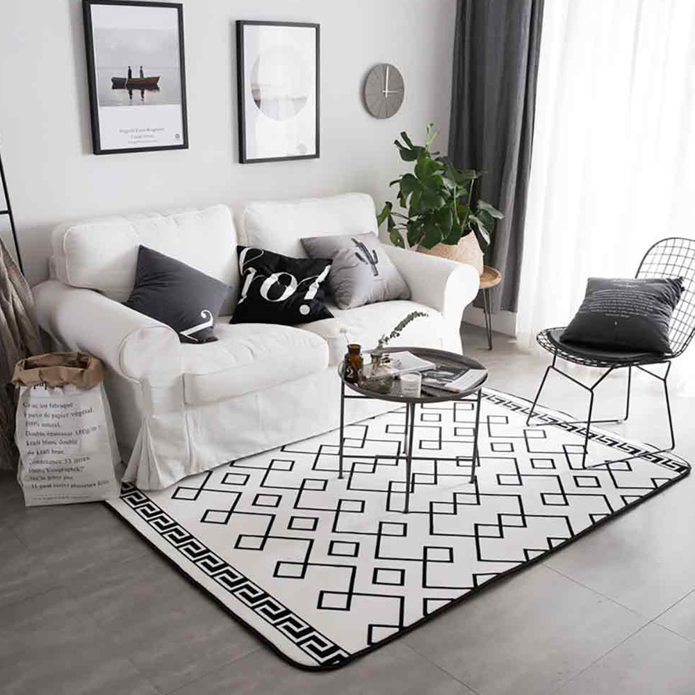 Flannel Rugs Modern Design Floor Mat, Non-slip Shaggy Fluffy Rugs for Living Room, Bedroom