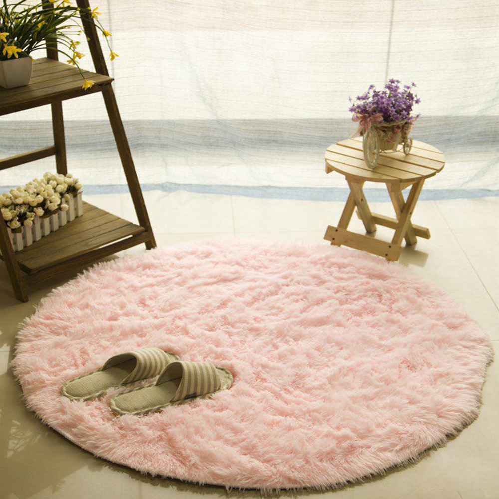 Silk Wool Rugs, Shaggy Fluffy Rugs, Non-slip Round Carpet for Living Room, Rugs for Bedroom