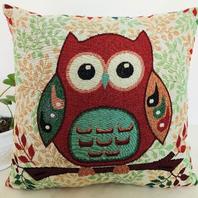 Embroidery Owl Pattern Cushion Cover, Artistic Linen Pillowcase Car Pillow Case Home Decor Cushion Cover