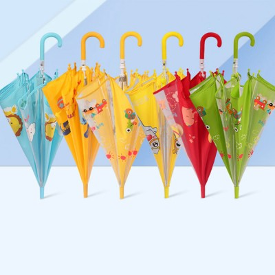 Cute Cartoon Painting Umbrella for Children, Long-handle Non-automatic Sun Rain waterproof Umbrella
