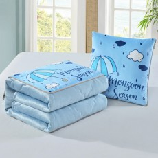 2 In 1 Pillow Detachable Quilt, Blue Flannelette PP Cotton Cushion Home Decor